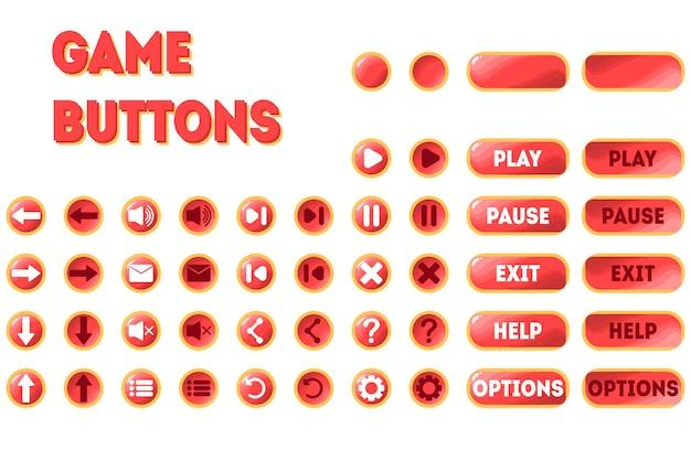 Eine reihe von schaltflächen für das spiel. zwei positionen - original und gedrückt. pause, wiedergabe, beenden, optionen, hilfe, pfeile, zurückspulen, neustart, sound, mail, menü und mehr.