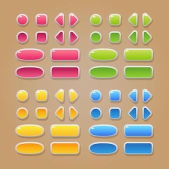 Eine reihe von schaltflächen in verschiedenen farben und formen für das design der benutzeroberfläche