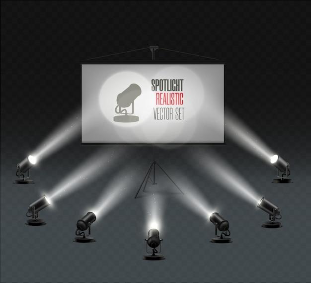 Eine reihe von scheinwerfern, die auf dem bildschirm leuchten. beleuchteter effektform-projektor, darstellung des projektors für studiobeleuchtung