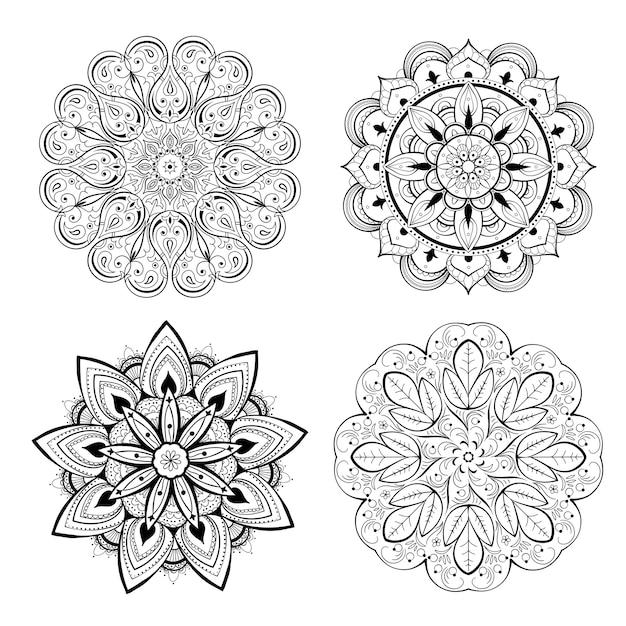 Eine reihe von schönen mandalas und spitzenkreisen. runder gradienten-mandala-vektor. traditionell orientalisch