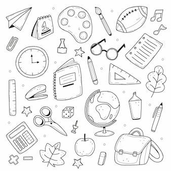 Eine reihe von schulartikeln in einem einfachen doodle-stil