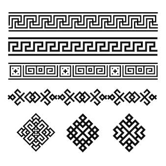 Eine reihe von schwarzen und weißen geometrischen designs