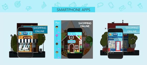 Eine reihe von seiten für mobile app-stores vektor-cartoon-illustration anzeigen für einen online-shop