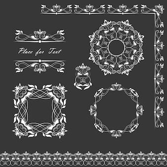 Eine Reihe von Servietten, Rahmen, Bändern und Abschnitten