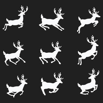 Eine reihe von silhouetten von laufenden hirschen. sammlung von weihnachtshirschen. springender hirsch santa.