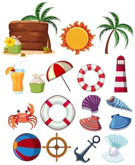 Eine reihe von sommer strandelementen