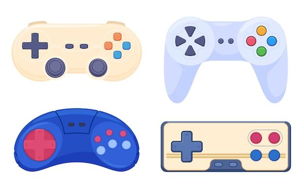 Eine reihe von spiel-joysticks für alte videospielkonsolen