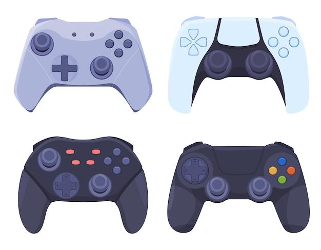 Eine reihe von spiel-joysticks für moderne videospielkonsolen