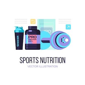 Eine reihe von sporternährung und zubehör für den sport.