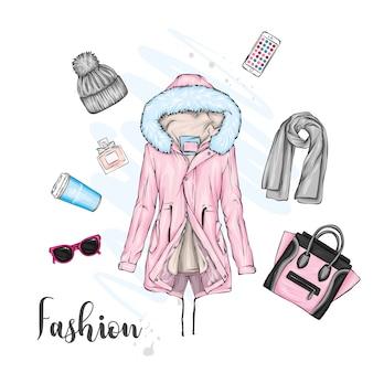 Eine reihe von stilvollen herbst- oder winter-damenbekleidung.