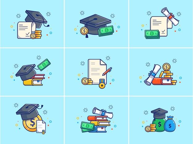 Eine reihe von stipendien illustration.