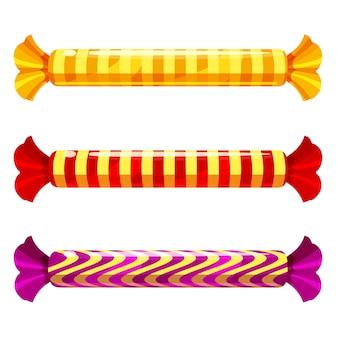 Eine reihe von süßen bonbons in einer packung von verschiedenen farben, vektor.