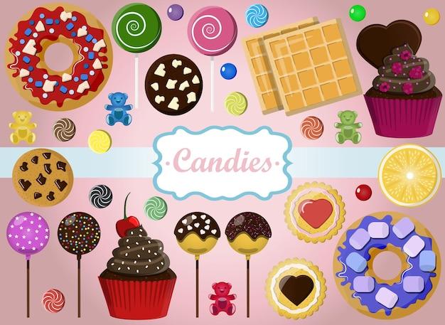 Eine reihe von süßigkeiten auf rosa hintergrund set für eine konditorei schokoriegel für den urlaub