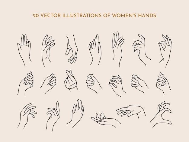 Eine reihe von symbolen für frauenhände in einem trendigen minimalen linearen stil. vektor-illustration von weiblichen händen mit verschiedenen gesten