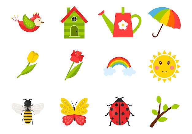 Eine reihe von symbolen zum thema frühling, sommer. insekten, vögel, tulpen, wetter, vogelhäuschen