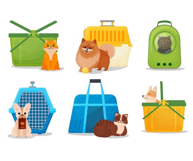 Eine reihe von tragbaren körben, käfigen und rucksäcken für haustierträger für hunde- und katzenkarikaturen