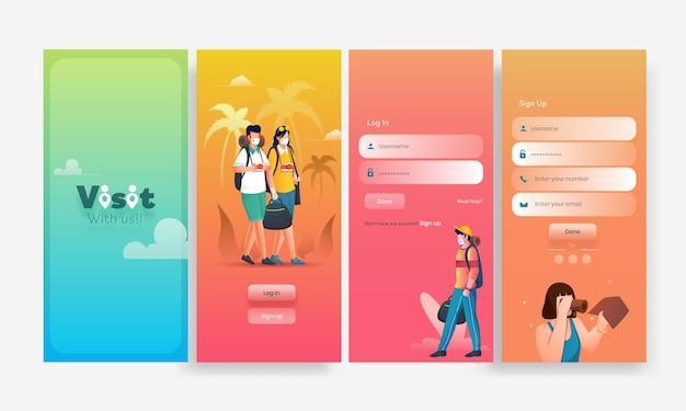 Eine reihe von ui-, ux- und gui-bildschirmen besuchen sie eine app wie login