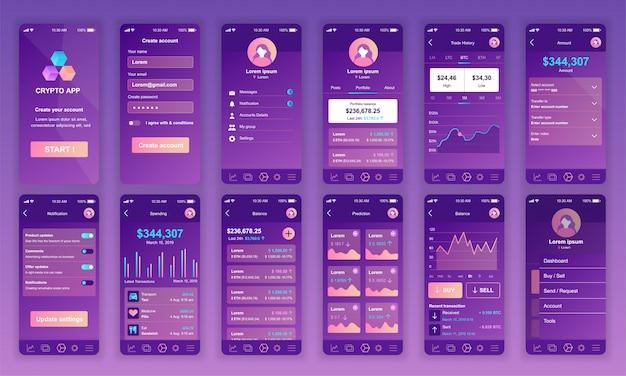 Eine reihe von ui-, ux- und gui-bildschirmen cryptocurrency app flat