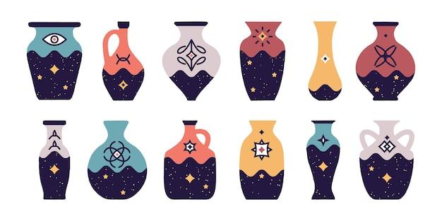 Eine reihe von vasen verschiedener arten illustration