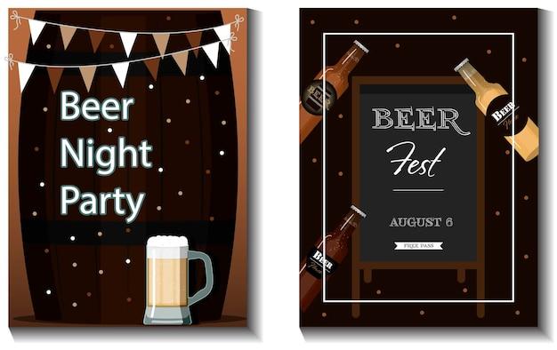 Eine reihe von vektor-flyern für ein bierparty-festival oder eine flache illustration für den oktoberfest-urlaub