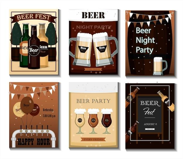 Eine reihe von vektor-flyern für ein bierparty-festival oder eine flache illustration mit bierkrügen biene...