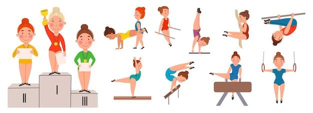 Eine reihe von vektorgrafiken von mädchen, die gymnastik betreiben.