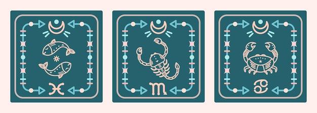Eine reihe von vektorkarten mit wasserzeichen des tierkreises. astrologische karten.