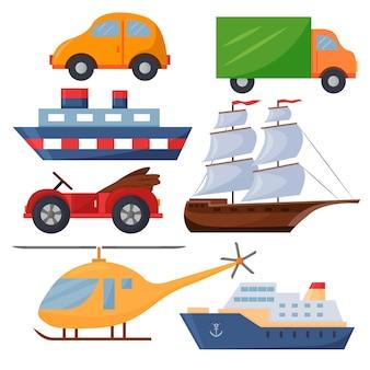Eine reihe von vektorspielzeugen für jungen autos schiffe und ein hubschrauber