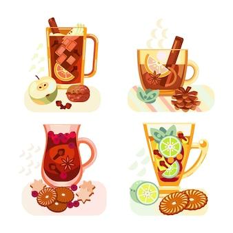 Eine reihe von verschiedenen teesorten. heiße getränke. gewürze, beeren, früchte. vektor-illustration.