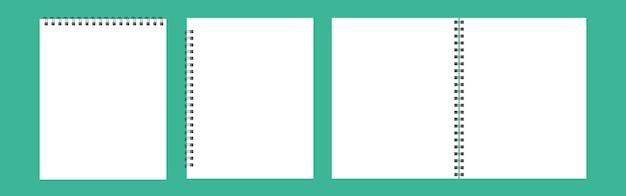 Eine reihe von vorlagen für alben, notizblöcke mit metallspirale. realistisches geöffnetes notizbuch isoliert auf grünem hintergrund