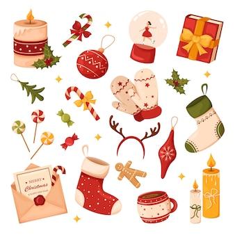 Eine reihe von weihnachtsartikeln, geschenken und dekorationen, süßigkeiten, lutscher, spielzeug, handschuhe, socken, kerzen