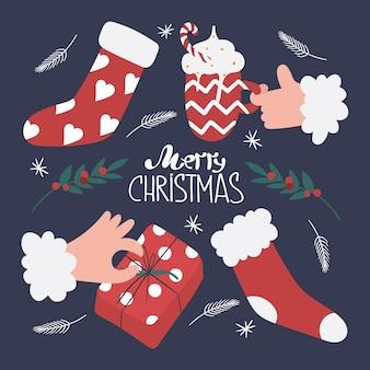 Eine reihe von weihnachtsartikeln im cartoon-stil