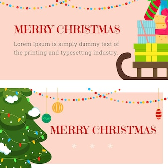 Eine reihe von weihnachtsbannern mit dem bild eines berges von geschenken und einem eleganten weihnachtsbaum