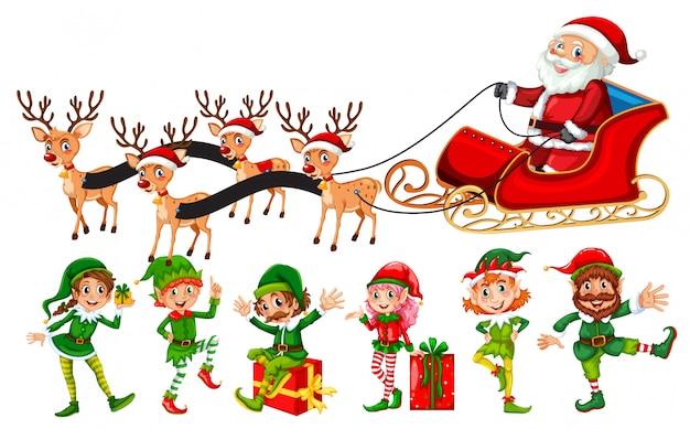 Eine reihe von weihnachtsfiguren