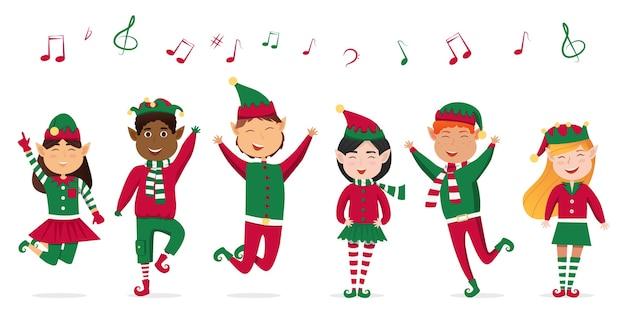 Eine reihe von weihnachtsliedern für kinder