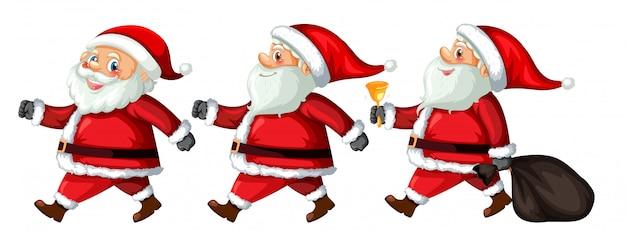 Eine reihe von weihnachtsmann mit unterschiedlichen aktionen