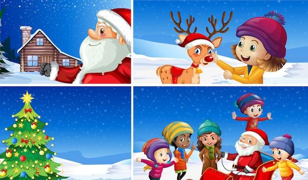 Eine reihe von winterweihnachten