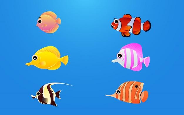 Eine reihe von wunderschönen meeresfisch-charakteren