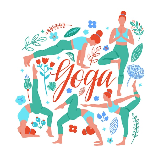 Eine reihe von yoga-posen mit trendillustration für sport und fitness.