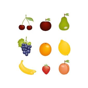 Eine reihe von zeichnungen von früchten und beeren auf einem weißen hintergrund. clipart orange, traube, kirsche und apfel. exotische früchte und kochen, backen. logo einer küche, eines cafés oder eines restaurants.