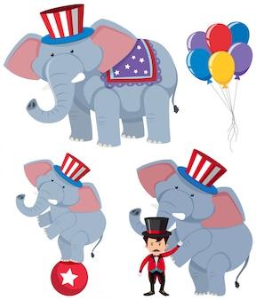 Eine reihe von zirkuselefanten