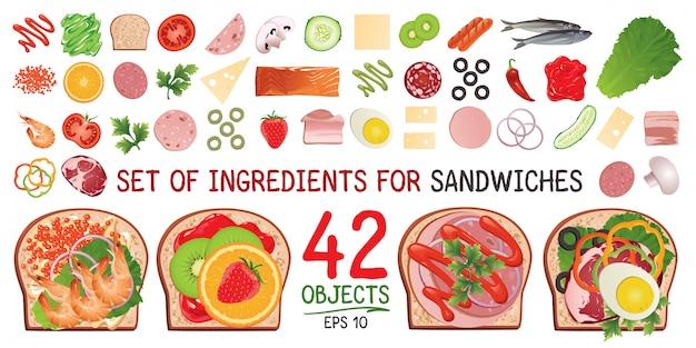Eine reihe von zutaten für ein sandwich.