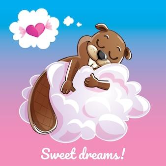 Eine reizende grußkarte mit einem hand gezeichneten biber, der auf der wolke und einer beispieltextnachricht süße träume, illustration schläft
