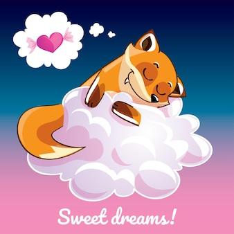Eine reizende grußkarte mit einem hand gezeichneten fuchs, der auf der wolke und einer beispieltextnachricht süße träume, illustration schläft