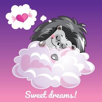 Eine reizende grußkarte mit einem hand gezeichneten igel, der auf der wolke und einer beispieltextnachricht süße träume, illustration schläft
