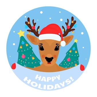 Eine rentier-weihnachtszeichentrickfigur hält ein schild mit der aufschrift frohe feiertage