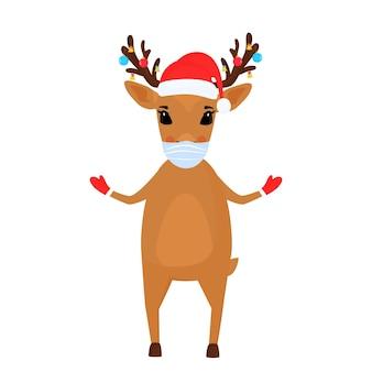 Eine rentier-weihnachtszeichentrickfigur trägt eine schützende gesichtsmaske.