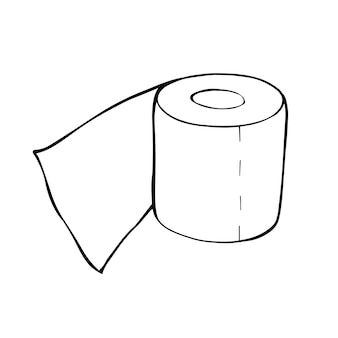 Eine rolle klopapier im doodle-stil