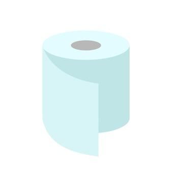 Eine rolle toilettenpapier. flache abbildung isoliert auf weiss.