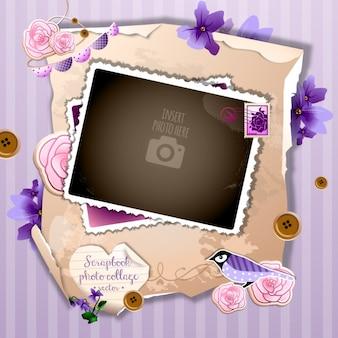 Eine romantische kulisse auf einem violetten hintergrund
